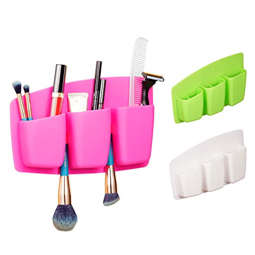 Ashina Silicone Rubber Toiletry Organizer, Toothpaste Razor Holder Bathroom Organizer Storage Space for Countertops (Pink)