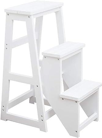 XEWNEG 3 Pasos Taburete De Paso, Grueso De Madera Sólida Antideslizante Escalera Plegable Taburete, Multifunción Banco De La Cocina Cambio De Zapatos/Flower Stand (Color : White): Amazon.es: Hogar