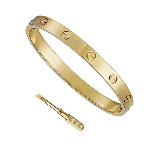 NEWJEW Love Bracelet Gold Stainless Steel Cuff Bangle Bracelet for Women Screw Design 7.5 Inch