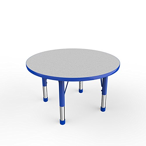 ECR4Kids Everyday T-Mold 36″ Round Activity School Table, Chunky Legs, Adjustable Height 15-24 inch (Grey/Blue)