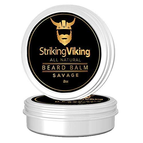 Striking Viking Beard Balm for Men - Beard Wax and Thickener Shapes, Holds and Conditions Beards & Mustaches - Natural Beard Thickener with Organic Jojoba, Argan, and Shea Butter - Made in USA