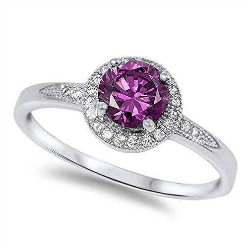 Halo Simulated Amethyst & Cubic Zirconia Fashion .925 Sterling Silver Ring Size 7 Amethyst Solitaire Ring