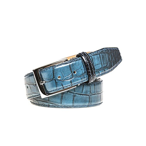 Blue Vintage Sunset Italian Mock Croc Belt by Roger Ximenez: Bespoke Maker of Fine Leather Goods