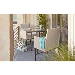Aria 3piezas Balcón Patio Bistro Set con su Premium marco de acero y tejido resistente a la intemperie más acolchado cojines