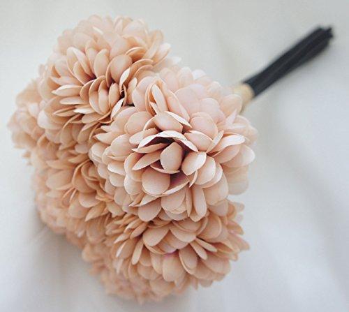 Brown Peony - Lily Garden Silk Chrysanthemum Ball 7 Stems Flower Bouquet (Latte)