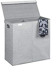 iDesign Aldo hopfällbar tvättkorg, tvättkorg med 2 fack och jutemönster, tillverkad av polypropen, grå