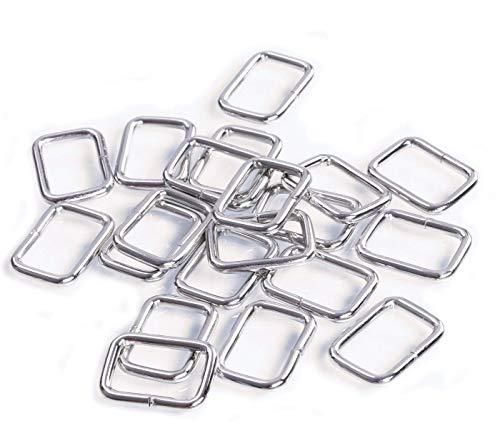 Shapenty 20MM Rectangle Bag Purse Snap Hook Metal Loop Rings Webbing Belts Buckle, 20PCS (Square Ring Metal)