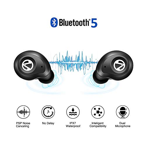 Wireless Earbuds,Touch Control Ture Wireless Headphones with Waterproof IPX7-Dual 5.0 Bluetooth Headsets with Charging Case Compatible iPhone iPad Samsung Laptop Android Phones
