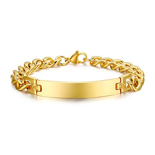 Free Engraving-Personalized Custom Engravable Message Men 18K Gold Plated Stainless Steel Tag Link Bracelet (Engravable Link Bracelet)