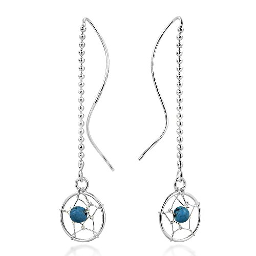Dreamcatcher Bead Simulated Turquoise Thread Slide-Through Sterling Silver - Bead Dreamcatcher Sterling Earrings Silver