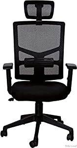 Tribe Wood Fabric Office Executive Chair (Black)