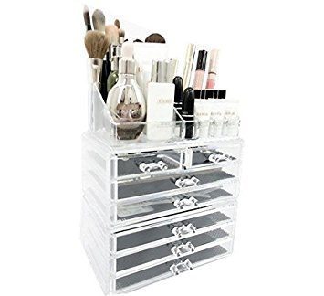 Unique Home Acrylic Jewelry Cosmetic Storage Makeup Organizer Large, Clear