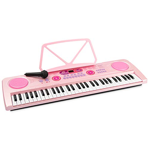 aPerfectLife 61 Keys Large Charging Piano Keyboard for Kids Multifunction Portable Piano Electronic Keyboard Music Instrument for Kids Early Learning Educational Toy (Pink)
