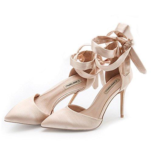Ladies Mariage De Pompes Talons Femmes Classic Demoiselle Cross Hauts Champagne10CM Party D'honneur Chaussures Straps Sandales D'été 1zfqv