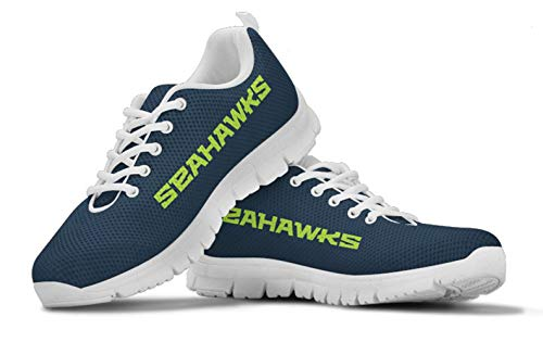 Seattle Seahawks Themed Casual Athletic Running Shoe Mens Womens Sizes 12th Man Football Apparel and Gifts for Men and Women (Womens, Womens US8 (EU39))