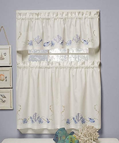 SKL Home by Saturday Knight Ltd. Seabreeze Curtain Tier Pair, Ocean, 57 inch x 36 inch