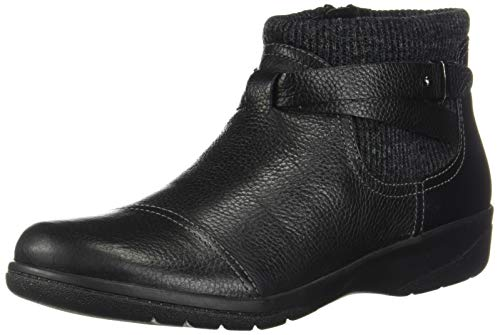 CLARKS Women's Cheyn Kisha Ankle Boot, Black Tumbled Leather/Textile, 120 W US (Womens Size 12 Clarks Shoes)