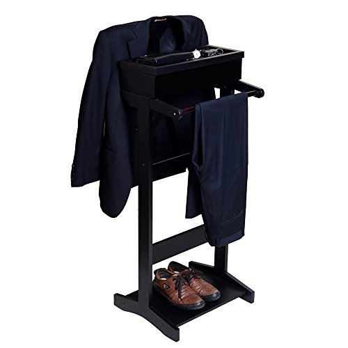 Wardrobe Mens Valet (GLS Black Wood Suit Valet Stand Clothes Rack)