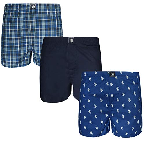 U.S. Polo Assn. Men\'s Woven Boxer Underwear with Functional Fly (3 Pack), Blue Horse/Navy/Blue Plaid, ()