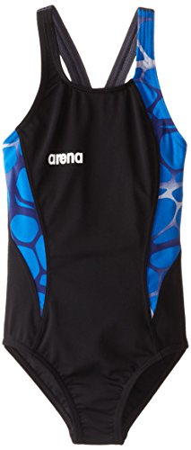 Arena Girl's Carbonite One Piece Swimsuit, Black/Asphalt/Royal, 22