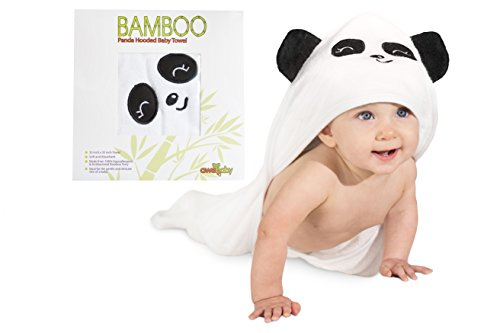Cute Panda Bamboo Hooded Baby Towel With Ears – More Absorbent Than Cotton & Hypoallergenic- Ultra Soft - Our Large Bath Towels are a Great Baby Shower Gift for Boy or Girl Infants & Toddlers