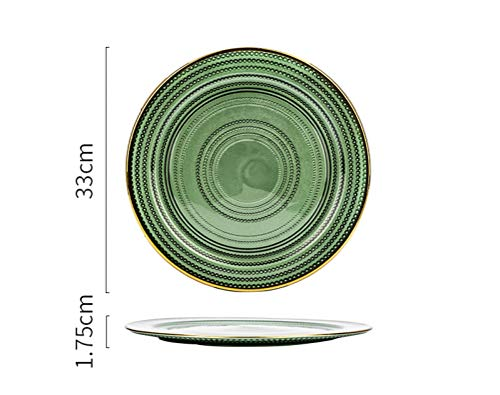 Malachite Green Creative Round Retro Ceramic Plate European Style Golden Edge Steak Bread Dish Cake Dessert Salad Fruit Sushi Snack Noodle Candy Plate Smooth Decor Gift for Friend Kid Family Couple