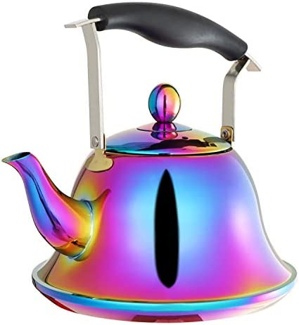 Whistling Tea Kettle with Infuser Stainless Steel Teapot Rainbow Teakettle for Stovetop Induction Stove Top Fast Boiling Heat Water Cute Tea Pot Colorful 2-Liter 2.1-Quart