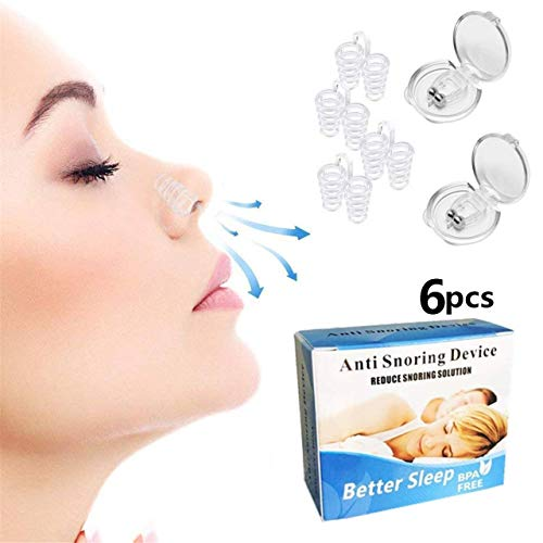 Clipple Silicone Magnetic Anti Snore Transparent Silicone Stop Snoring Device Silicone Nose Clip Tools Professional Relieve Snore Mini Comfortable Sleep Sleeping Aid for Men Women incl.4 Sizes(2+4pcs)