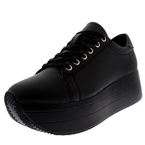 estival Casual Fashion Platform Wedge Heel Sneakers - Black - US7/EU38 - BF0050 (Black Platform Wedge Heel)