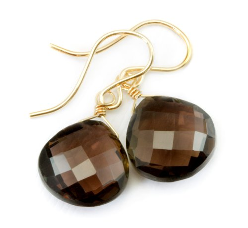 14k Gold Filled Smoky Quartz Earrings Faceted Heart Briolette Smokey Cut Drop Dangle