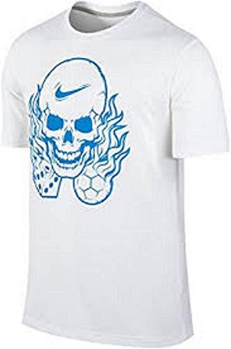 Nike Men's Manifesto Flaming Skull Soccer Dice Dri-FIT Cotton T-Shirt Size M White ()