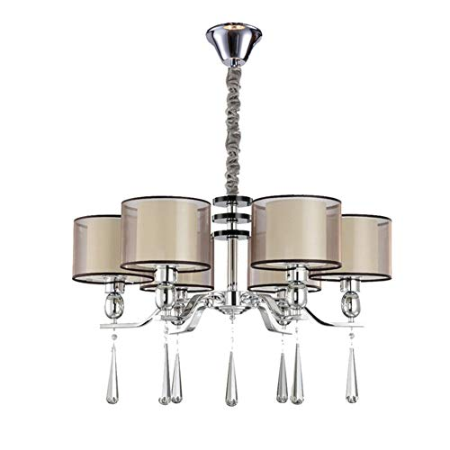 GCTFQ Ceiling Pendant Chandelier Lighting, 6-Light, White Textured Shade, Adjustable Height, LED Compatible for Island Living Room Dining Bedroom Office 27.5X18 ()