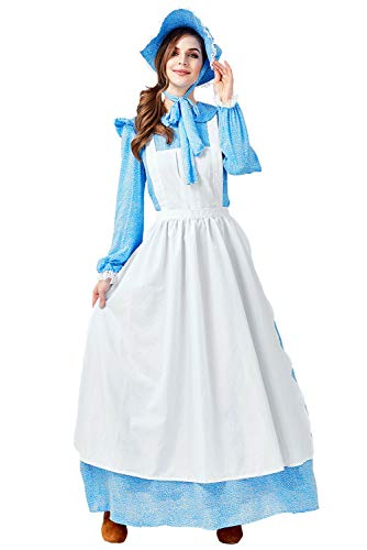 MIGHTYCOS Women Halloween Colonial Vintage Pastoral Pilgrim Historical Dresses Sewing Pattern Pioneer Costumes Blue ()