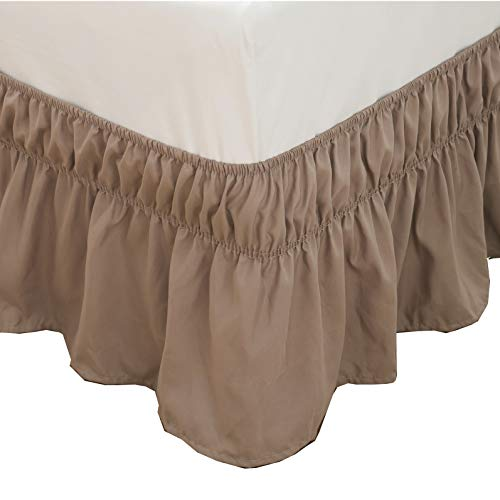 Bed Skirt-14 Inch Drop Dust Ruffle Three Fabric Sides Wrap Around Ruffled (Queen/King Khaki) Brushed Microfiber Adjustable Elastic Easy Fit ()