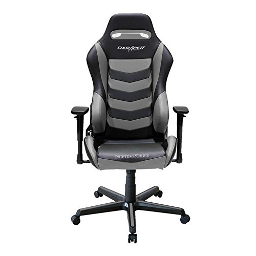 DXRacer OH/DM166/NG Black & Gray Drifting Series Gaming Chair Ergonomic High Backrest Office Computer Chair Esports Chair Swivel Tilt and Recline with Headrest and Lumbar Cushion + Warranty For Sale