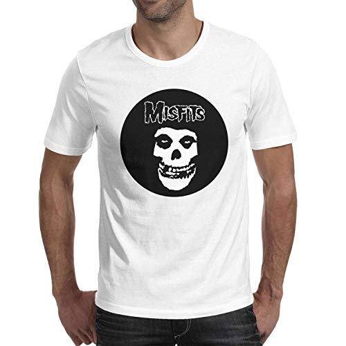 FUNNY MUSIC Man Short Sleeve Cotton White T-Shirts Misfits-Logo- Shirt