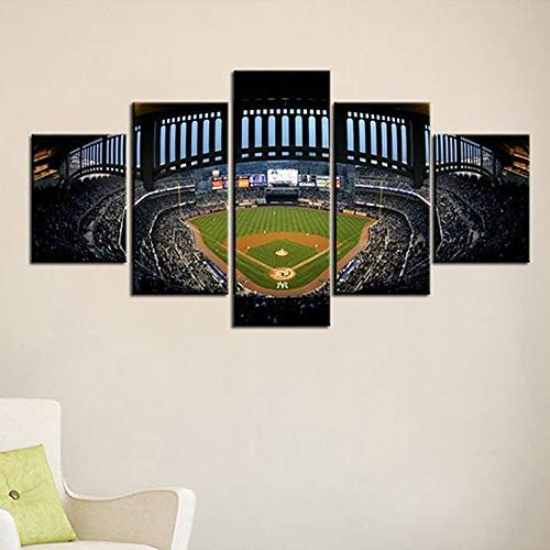 JESC Frame Home Decor Room Poster Canvas Wall 5 Panel York Yankees Stadium Night Art Pictures HD Printed Abstract Painting