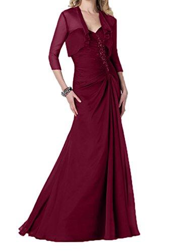 Brautmutterkleider Etuikleider Langarm jaket Burgundy Festlichkleider mit Abendkleider Charmant Damen Festlich 7q1xZp