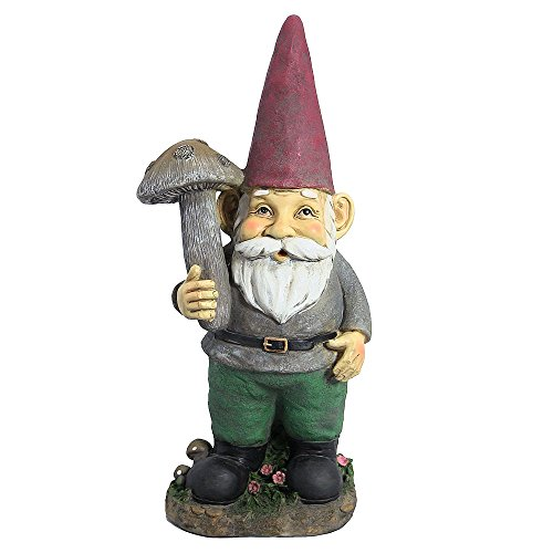 Sunnydaze Marty The Mushroom Garden Gnome, Outdoor Lawn Statue Decoration, 20 Inch Tall
