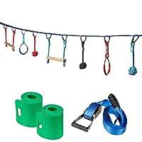 Ivation Portable 50 Foot Slackline Monkey Bar Kit - Kids Swinging Obstacle Course Set - Bars, Fists, Gymnastics Rings - 250lb Capacity - Storage Bag & Tree Protectors Included