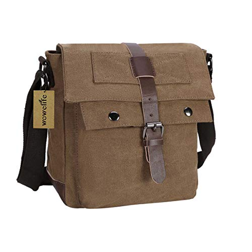 Wowelife Small Messenger Bag Vintage Canvas Shoulder Bag Tactical Military Crossbody Shoulder Pack for Daily Use,Hiking and Traveling(Brown)