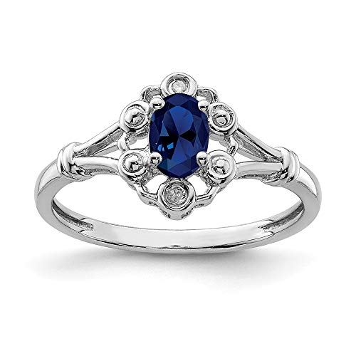 925 Sterling Silver Created Sapphire Diamond Band Ring Size 8.00 Birthstone September Gemstone Set Fine Jewelry For Women Gift Set