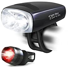 Cycle Torch Night Owl Bike Light USB Rechargeable - Perfect Urban Commuter Bicycle Light Set - Bright TAIL LIGHT Included - Compatible with Mountain, Road ,Kids & City Bicycles, Increase Safety & Visibility