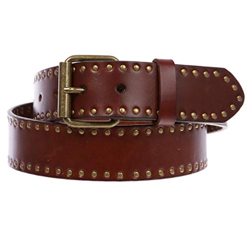 Genuine Vintage Retro Circle Studded Leather Belt - Interchangeable buckle, Tan | 40
