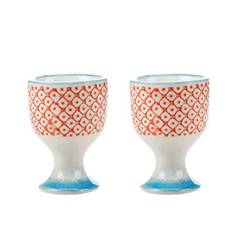 (Nicola Spring Patterned Egg Cups - Orange/Blue Print Porcelain Breakfast Set - Pack of 2)