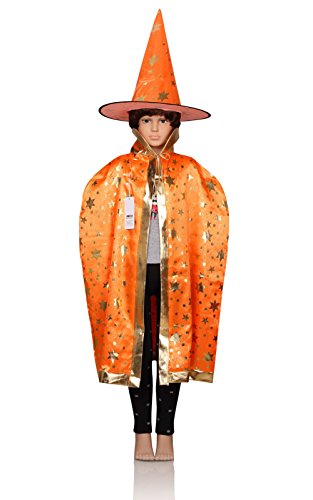 [ProEtrade Child Costume Cosplay Cape With Witch Hat For Halloween Christmas (Orange)] (Childs Bat Costume Pattern)