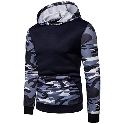 (Realdo Clearance Mens Camo Hoodie Sweatshirt, Mens Splice Camouflage Military Combat Hooded Pullover)