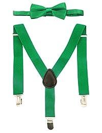 Aieoe Unisex Children Solid Adjustable Elastic Wedding Daily Wear Suspender Bowtie Set