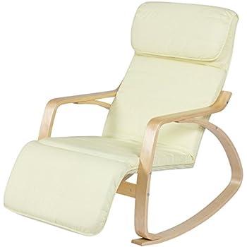 Amazon Com Bcp Wood Recliner Rocking Chair W Adjustable