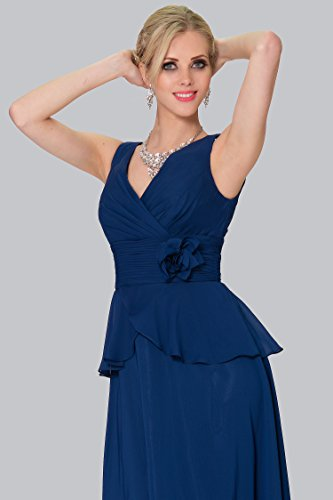 SEXYHER Charme Navyblue Mousseline Rose couvert longue de demoiselle d'honneur robe de soir¨¦e - EDYP8010